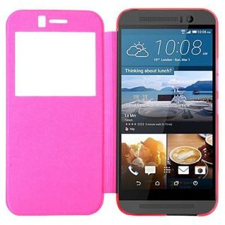 Smartcover Window Pink für HTC One 3 M9 Tasche Cover Case Hülle Etui Zubehör Neu