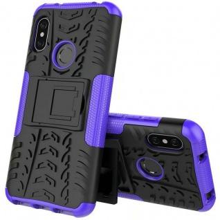 Für Xiaomi MI A2 / Mi 6X Hybrid Case 2teilig Outdoor Lila Tasche Hülle Cover Neu