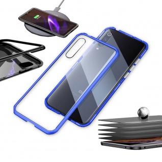 Für Xiaomi Mi 9 Lite Magnet Metall Glas Transparent / Blau Tasche Hülle Etuis