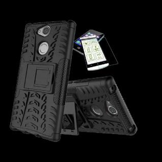 Für Sony Xperia XA2 Plus Hybrid Case 2 teilig Schwarz Hülle + 0, 3 H9 Glas Tasche