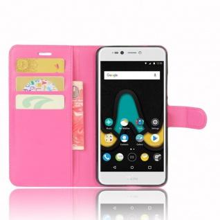 Tasche Wallet Premium Pink für Wiko Upulse Lite Hülle Case Cover Etui Schutz Neu - Vorschau 5