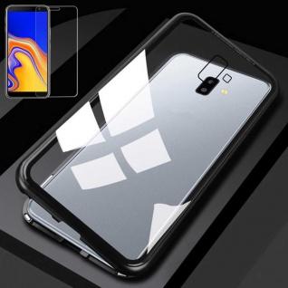 Für Samsung Galaxy J4 Plus J415F Magnet Tasche Schwarz / Transparent + H9 Glas