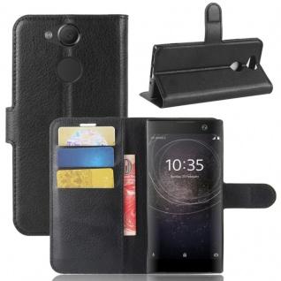 Tasche Wallet Premium Schwarz für Sony Xperia XA2 Hülle Case Cover Schutz Etui