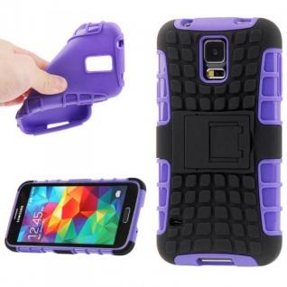 Hybrid Case 2teilig Robot Lila Cover Hülle Zubehör Etui für Samsung Galaxy S5