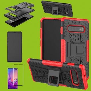 Hybrid Tasche Etuis Hülle Rot für Samsung Galaxy S10 Plus + 4D H9 Curved Glas