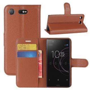 Schutzhülle Braun für Sony Xperia XZ1 Compact / Mini Bookcover Tasche Case Cover