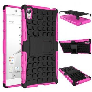 Hybrid Case 2teilig Outdoor Pink Tasche Hülle für Sony Xperia Z5 5.2 Zoll Cover