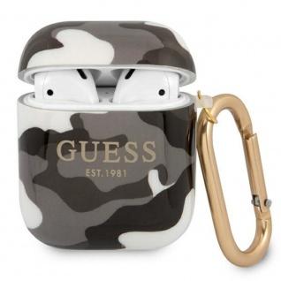 Guess Apple AirPods Cover Camouflage Schwarz Silicone Schutzhülle Tasche Case