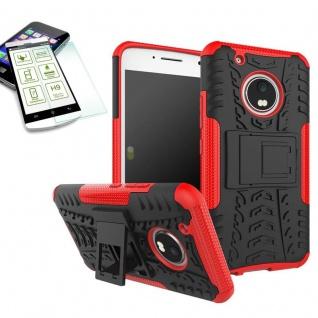 Hybrid Case 2teilig Rot für Lenovo Moto G5 Plus + Hartglas Tasche Hülle Cover