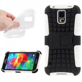 Hybrid Case 2 teilig Robot Weiss Cover Hülle für Samsung Galaxy S5 Mini G800 F