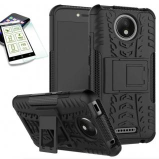 Hybrid Case Tasche 2teilig Schwarz für Motorola Moto C Plus + H9 Hartglas Neu