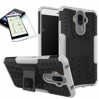 Hybrid Case Tasche Outdoor 2teilig Weiß für Huawei Mate 9 + Hartglas Cover Neu