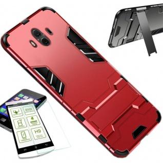 Für Huawei P Smart Plus Tasche Metal Style Hybrid Case Hülle Rot + 0, 26 H9 Glas