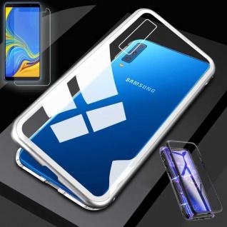 Für Samsung Galaxy A50 6.4 Magnet Tasche Silber / Transparent + 0, 26 H9 Glas Neu