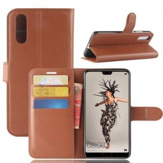 Tasche Wallet Premium Braun für Huawei P20 Hülle Case Cover Schutz Etui Schale