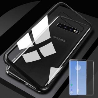 Für Samsung Galaxy S10 Plus Magnet Tasche Schwarz Transparent + 0, 3 4D H9 Glas