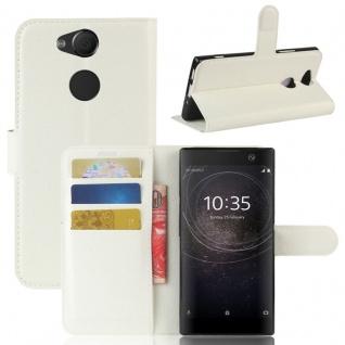 Tasche Wallet Premium Weiß für Sony Xperia XA2 Hülle Case Cover Schutz Etui Neu
