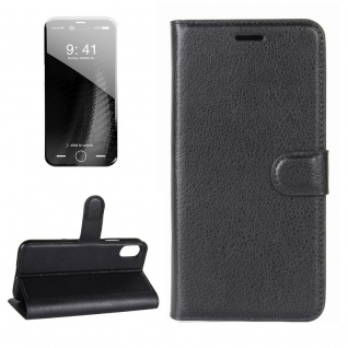 Schutzhülle Schwarz für Apple iPhone X 5.8 Zoll Bookcover Tasche Case Cover Top