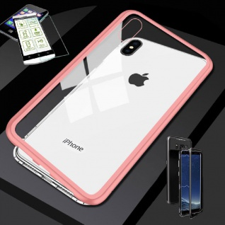Für Apple iPhone X / XS 5.8 Magnet Glas Tasche Rosa / Transparent + H9 Glas Case