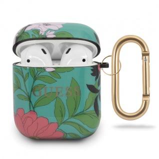 Guess Apple Airpods Silicon Cover Flower Collection Grün Schutzhülle Tasche Case