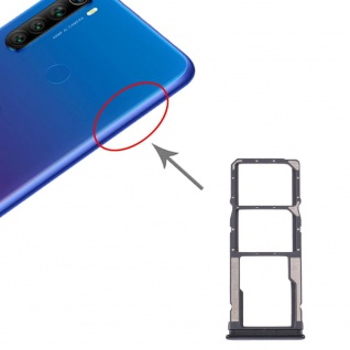 Dual Sim / Micro SD Karten Halter Xiaomi Redmi Note 8T/Note 8 Schwarz Ersatzteil