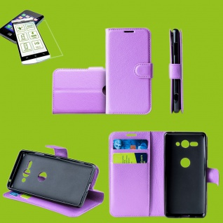 Für Samsung Galaxy A50 6.4 Zoll Tasche Wallet Lila Hülle Etuis + H9 Hart Glas