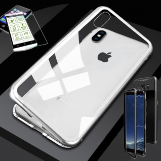 Für Apple iPhone XR 6.1 Magnet Glas Tasche Silber / Transparent + 0, 26 H9 Glas