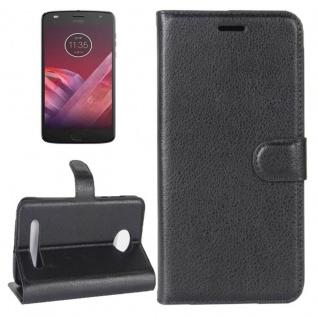 Tasche Wallet Premium Schwarz für Motorola Moto Z2 Play Hülle Case Cover Etui