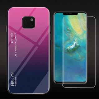 Für Huawei Mate 20 Pro Color Effekt Cover Pink Tasche Hülle + 4D Curved Glas Neu