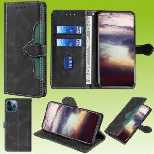Für Apple iPhone 13 Pro Design Handy Tasche Schwarz Etuis Schutz Kunst-Leder Neu