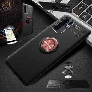 Für Samsung Galaxy A40 Magnet Metall Ring Tasche Schwarz / Pink + H9 Glas Etuis