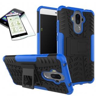Hybrid Case Tasche Outdoor 2teilig Blau für Huawei Mate 9 + Hartglas Cover Neu