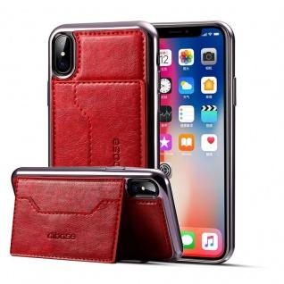 Edle Schutzhülle Cover Case für Apple iPhone X 5.8 Hülle Stand + Kartenfach Rot