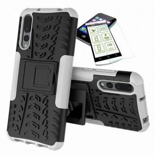 Für Huawei P20 Pro Hybrid Case Tasche Outdoor 2teilig Weiß Hülle + H9 Glas Cover