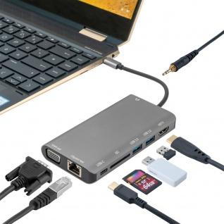 8in1 Hub USB Typ-C Typ C auf Ethernet HDMI 3x USB 3.0 und Kartenleser VGA Grau