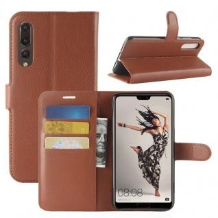 Tasche Wallet Premium Braun für Huawei P20 Pro Hülle Case Cover Schutz Schale