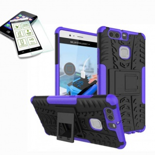 Hybrid Case Tasche Outdoor 2teilig Lila für Huawei P9 + H9 Hartglas Cover Etui