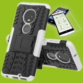 Für Motorola Moto G7 / G7 Plus Hybrid Tasche Etui Outdoor 2teilig Weiß + H9 Glas