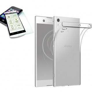 Für Sony Xperia XA1 Plus Silikon TPU Transparent + H9 Hart Glas Tasche Etuis Hülle