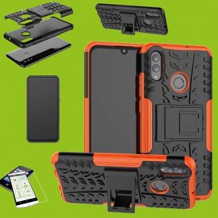 Für Samsung Galaxy A50 6.4 Hybrid Tasche Outdoor 2teilig Orange + H9 Glas Etuis