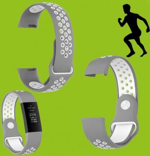 Für Fitbit Charge 3 Kunststoff Silikon Armband für Männer Größe L Grau-Weiß Uhr
