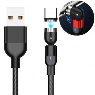 USB Typ-C Magnetisches Rotations-Ladekabel 2m Schwarz Zubehör Neu