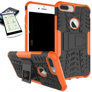 Hybrid Tasche Outdoor 2teilig Orange für Apple iPhone 8 7 Plus 5.5 Hülle + Glas