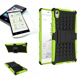 Hybrid Case Grün für Sony Xperia Z5 Premium 5.5 Zoll + H9 Hartglas Tasche Neu