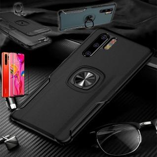 Für Huawei P30 Magnet Metall Ring Hybrid Schwarz Tasche Etuis + 4D Curved Glas