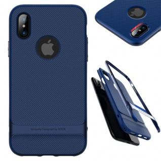 Original ROCK Silikon Case Tasche Schwarz / Blau für Apple iPhone X / XS Hülle