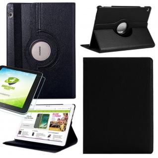 Für Samsung Galaxy Tab S5e Schwarz 360 Grad Etuis Tasche Kunst Leder + H9 Glas