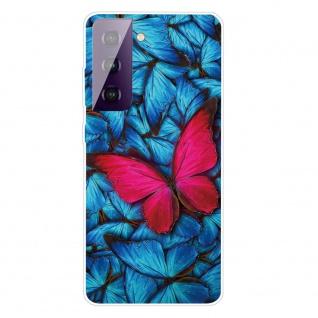 Für Samsung Galaxy S21 Plus Silikon TPU Red Butterfly Handy Hülle