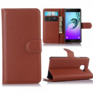 Schutzhülle Braun für Samsung Galaxy A3 2016 A310F Tasche Hülle Wallet Case Etui