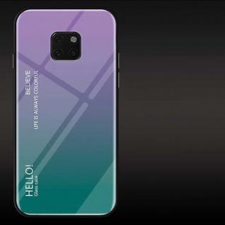 Für Huawei Mate 20 Pro Color Rainbow Effekt Glas Cover Lila Tasche Hülle Etui
